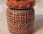 Red, White, Orange and Blue Kaleidescope Jar
