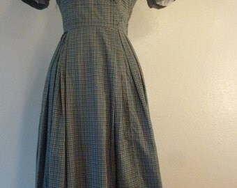1950s Cotton Green and Brown Checkered day dress
