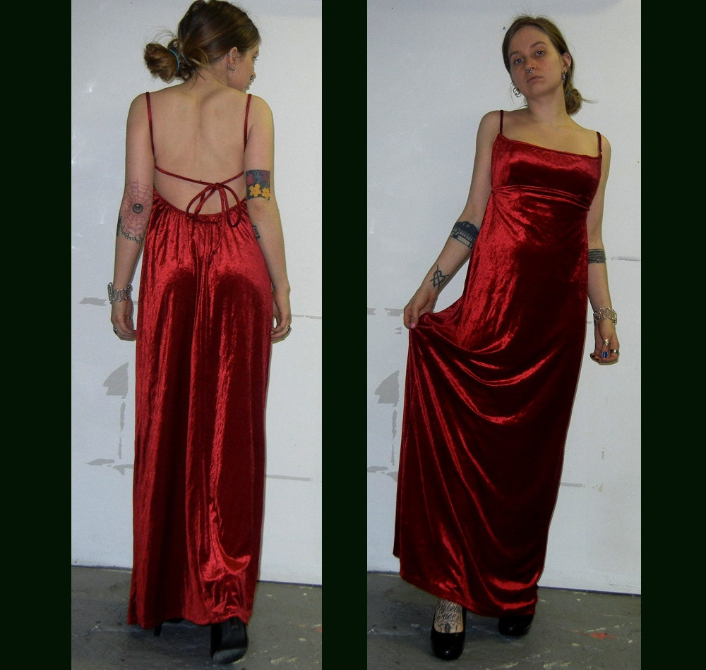 ON SALE Long scarlet red velvet dress by PeculiarAllure on Etsy
