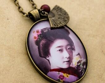 purple Geisha Necklace - Oriental Japanese Swarovski Crystal Pearl Bronze Cabochon Pendant