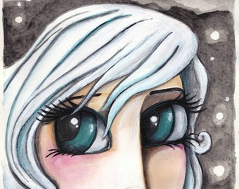 ZODIAC painting PISCES girl with big blue green eyes white hair + a samurai fighting fish - a thoughtful unique gift idea SHIPPING included