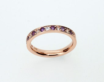 Amethyst wedding band, Rose gold ring, white sapphire wedding, purple wedding, amethyst engagement, half eternity ring, gold wedding, pave