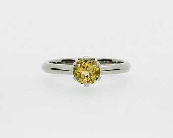 Citrine engagement ring made from 950 platinum, citrine solitaire ring, yellow engagement ring, unique, platinum solitaire, yellow gemstone