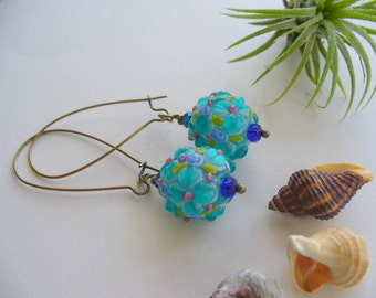 Fancy Flower Lampwork Dangle Earrings, Turquoise Flower Earrings, Vintage Antique Brass, Long Dangle, Lampwork Art, Turqoise, Blue, Green