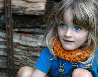 Hand Knit Chunky Cowl, Earwarmer/Headband for Toddler or Child - Rust/Burnt Orange - Ready To Ship