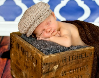 Baby Boy Hat 0 to 3 Month Tan Baby Hat Baby Boy Clothes Irish Donegal Hat Baby Boy Cap Newsboy Cap Paper Boy Hat Photo Prop Photography Prop
