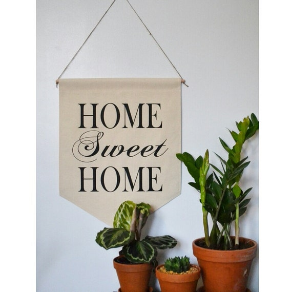 "Handmade ""Home Sweet Home"" Large Hanging Wall Banner - Wall Hanging Pendant- Handmade Wall Banner"