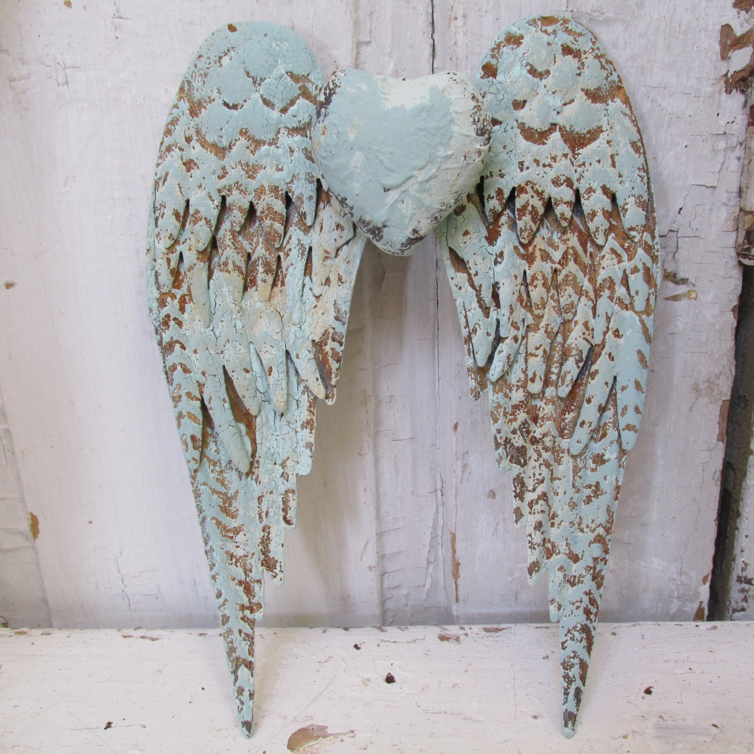 Distressed angel wings wall hanging home decor painted sea for Angel wall decoration