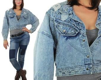 Studded denim jacket 80s Acid Wash Cropped denim blue jean slouchy Vintage 80s rocker Medium