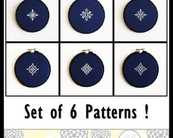 Snowflake Set of 6 Cross Stitch PDF Pattern - Immediate Download from Etsy - Christmas Winter Card Series