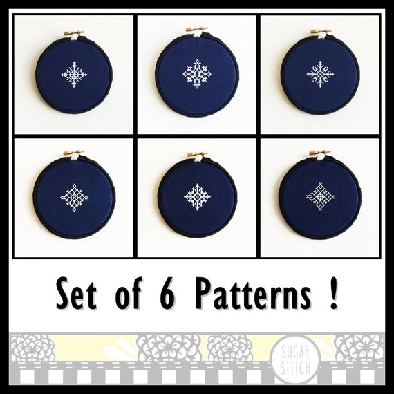 Snowflake Set Of 6 Cross Stitch Pdf Pattern Immediate