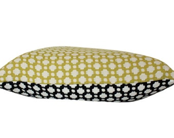 Schumacher Betwixt Two Toned Pillow Cover in Chartreuse and Black