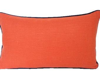 Orange Linen Lumbar Pillow with Navy Blue Piping