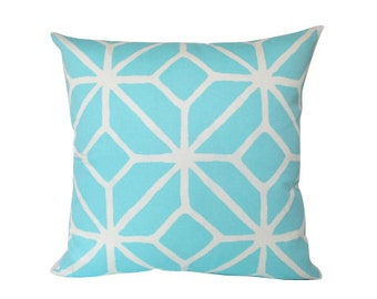 Sky Blue and White Trellis Print by Trina Turk for Schumacher - Outdoor Designer Pillow Cover