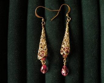 Aurelia's Gold Filigree, Gold Fish Hook and Rose Swarovski Crystal Earrings