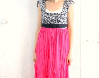 Maxi dress , Upcycled clothing , Bright Pink dress , Womens size Medium floral dress , repurposed ecochic clothes by wearlovenow