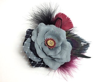 Grey Black Peacock Feather Prom Hair Clip Accessory Romantic Rose Fascinator Antique Button original unique hair clip