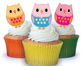 24 x Owls Edible Cup Cake Toppers