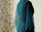 Summer Linen shawl - dar turquoise lace shawl
