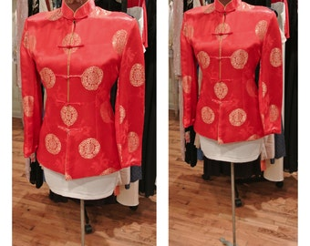 1980s Red Silk Kimono Jacket Gold Dragon Red and Gold Quilted Midi Coat Mandarin Collar Dress Coat Embroidered Silk Satin Blazer