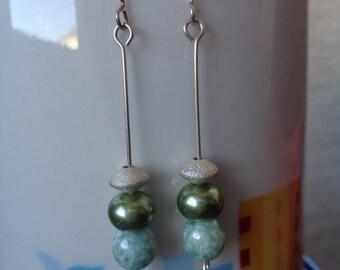 Glass Earrings, Green Earrings, Mint Beaded Earrings, Holiday, Drop Earrings, Green and Silver Earrings, Dangle Earrings