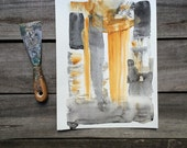 Yellow & Black Original Painting, A4 Abstract Watercolour, unique anniversary gift for him