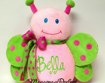 Personalized, Monogrammed Hot Pink & Lime Green Butterfly Stuffed Animal, Soft Toy, Pillow