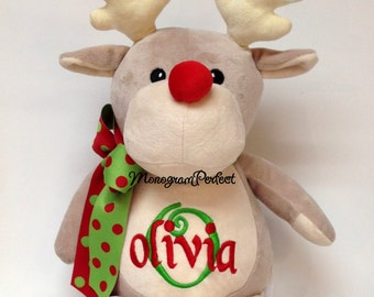 Personalized Stuffed Animal Christmas Reindeer