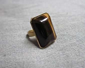 60s Gold and Tigers Eye Cocktail RIng