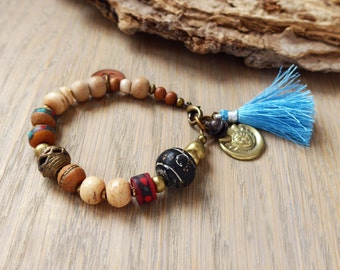 Bohemian tassel bracelet, yoga bracelet, bohemian jewelry, tribal hippie jewelry, gift for her
