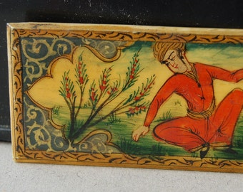 Antique Oriental hand painted plaque or panel with two male figures