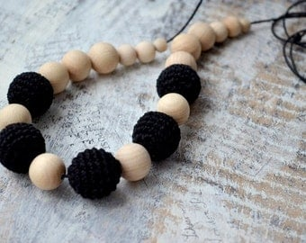 Black Nursing necklace,Black Teething necklace, For new mommy,Crochet bead,Eco friendly Safe,Jewelry,Ready to ship