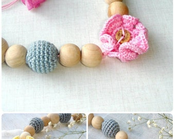 Flower Teething Nursing necklace  Sling Accessory Breastfeeding necklace Grey pink flower READY TO SHIP