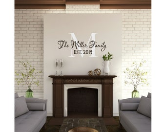 Popular items for last name wall decal on Etsy