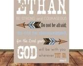 Personalized, Monogram, Name Printable, Tribal, Kids Room,  Boy Printable, Joshua 1:9, Scripture printable, Scripture art, 300 dpi