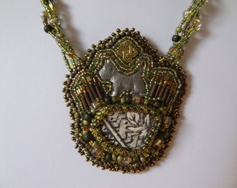 CLEARANCE, 30%OFF, Scottish Beach Shard, Pewter Scottie, Bronze Celtic Knot Bead, Beaded Embroidery Necklace