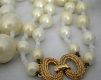 Signed MARVELLA Double Strand Faux Pearl Necklace | Circa 1960s