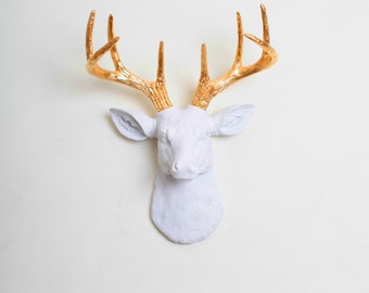 White and Gold Deer - Ships in 1 Day! The Mini Alfred Faux Deer Head Wall Mount - Christmas Wall Decor / Mantle Ornament & Holiday Figurine