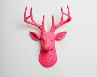 Faux Deer Mount - The MINI Alejandra - Pink Resin Deer Head- Stag Resin Pink Faux Taxidermy- Chic & Trendy