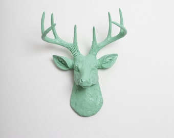 The Original Mini Faux Deer Head by White Faux Taxidermy - The MINI Eleanor - Seafoam Green Resin Deer Head & Antlers - Faux Head Wall Mount