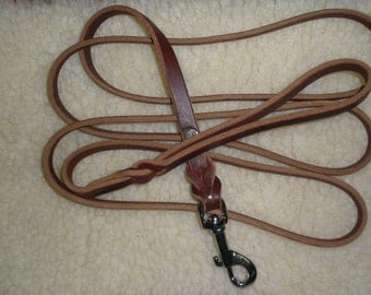"Latigo leather dog leash 1/2"" X 7' chrome swivel bolt snap  GREAT SHOW LEASH for German Shepherds and many other breeds"