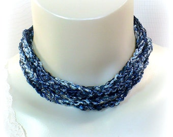 Blue & Silver Ladder Yarn Necklace, Blue Ribbon Necklace, Yarn Necklace, Fiber Jewelry, Crochet Necklace, Lariat Necklace, Gifts for Her