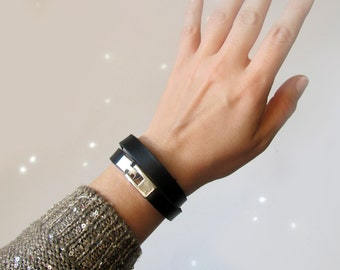 Wrap leather bracelet, Black full grain leather cuff with silver hardware , ALL SIZES