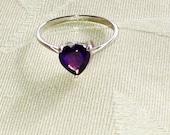 Amethyst Purple Heart Ring Solitaire February Birthstone Handmade Jewelry