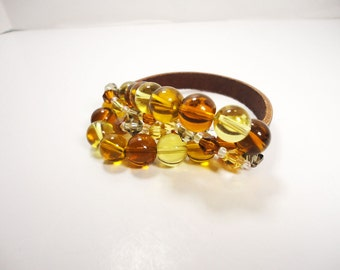 Brown Leather and Bead Stretch Bracelet