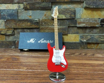 Mini Red Electric Guitar w/ Personalized Case - Music Gift- Instrument(CGE18R)
