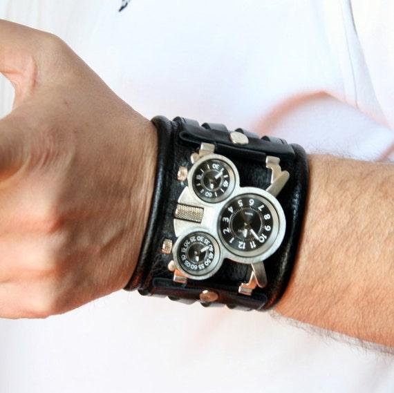 Mens wrist watch band Tuareg-4Leather watch