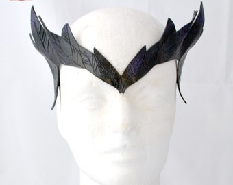 Made To Order Gothic Raven Leather Maleficent Inspired Cosplay Masklette Circlet Various Colors