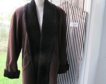 Vintage Henri Bendel Persian Lamb Trimmed Brown Winter Coat