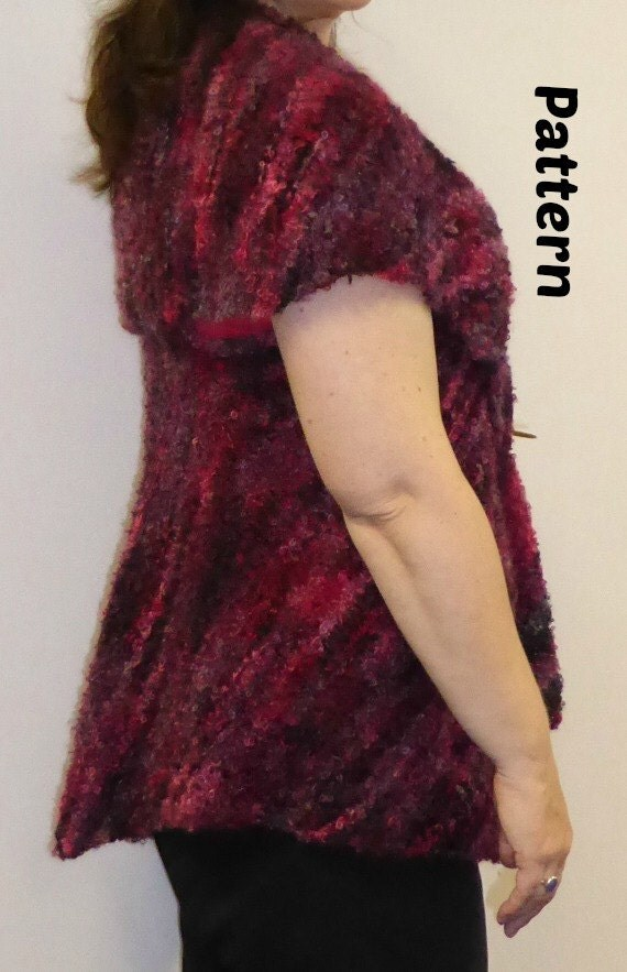 Knitting Pattern - Boucle Mohair Knitting Yarn Ladies Vest or Jacket from tre...